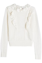 Red Valentino R.E.D. Knitted Cotton Pullover With Ruffle Detail