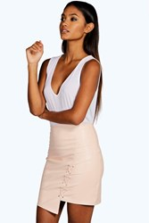 Boohoo High Waist Lace Up Front Faux Leather Nude