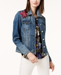 Inc International Concepts Embroidered Denim Jacket Created For Macy's Indigo