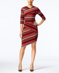 Eci Striped Asymmetrical Sheath Dress Multi Red Combo