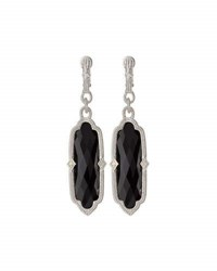 Judith Ripka Chelsea Elongated Onyx And Sapphire Dangle Earrings Black
