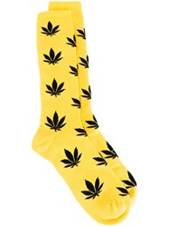 Palm Angels Leaf Intarsia Socks Yellow And Orange