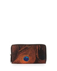Peacock Feather Print Large Zip Wallet Givenchy