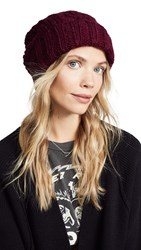 Free People Harlow Cable Knit Beanie Wine