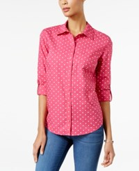 Karen Scott Dot Print Roll Tab Shirt Only At Macy's Wild Punch Combo