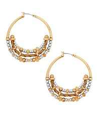 Lucky Brand Sun Kissed Moments Dual Tone Beaded Hoop Earrings Gold
