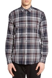 Sand Trim Fit Plaid Sport Shirt Blue