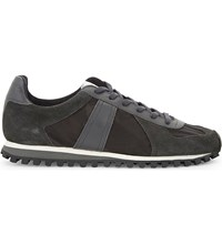 Sandro Tx 03 Leather And Suede Lace Up Trainers Grey
