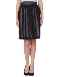 Blk Dnm Knee Length Skirts Black