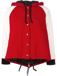 Comme Des Garcons Girl Bicolour Zipped Hoodie Red