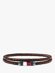 Tommy Hilfiger 'S Double Leather Bracelet Silver Brown