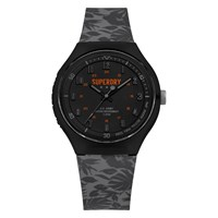 Superdry Men's Urban Extra Large Silicone Strap Watch Grey Black