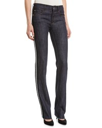 Red Valentino Skinny Jeans With Velvet Side Stripe Blue Denim