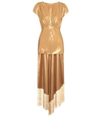 Hillier Bartley Metallic Silk Blouse Gold