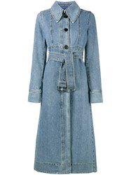 Marni Denim Trench Coat Women Cotton 44 Blue