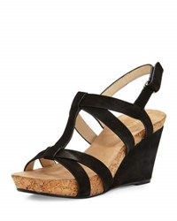 Taryn Rose Trini Nubuck Wedge Sandal Black