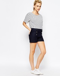 Oasis Button Down Denim Shorts Blue