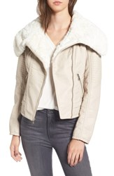 Guess Women's Faux Fur Collar Jacket Stone