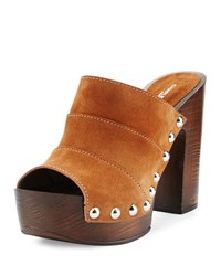 Charles David Ellina Suede Studded Platform Sandal Brown
