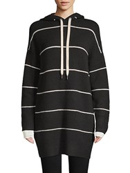 Alice Olivia Ribbed Striped Hoodie Black White