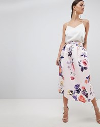 Closet London Floral Skirt Pink