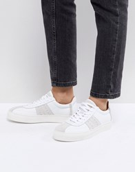 Selected Leather And Suede Trainer White