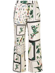 Osklen Mixed Print Flared Trousers Green