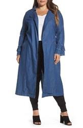 Elvi Plus Size Women's Chambray Trench Coat Blue