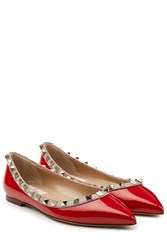 Valentino Two Tone Patent Leather Rockstud Ballet Flats Red