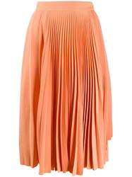 Acne Studios Pleated Midi Skirt Orange