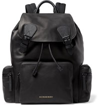 Burberry Mesh Panelled Leather Backpack Black