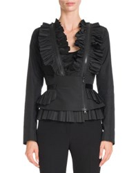 Givenchy Ruffled Taffeta Zip Trim Jacket Black