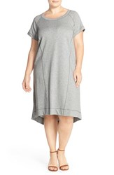 Plus Size Women's Sejour French Terry Shift Dress Grey Medium Heather