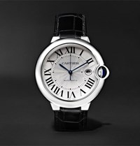 Cartier Ballon Bleu Automatic 42Mm Stainless Steel And Alligator Watch Silver