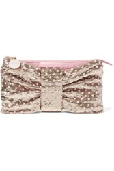 Red Valentino Redvalentino Sequin Embellished Ruched Leather Clutch Gold