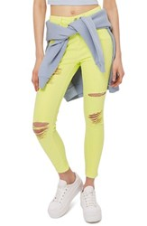 Topshop Women's Jamie Ripped Skinny Jeans Lime