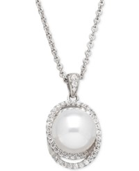 Honora Style Cultured Freshwater Pearl 10Mm And Swarovski Zirconia Pendant Necklace In Sterling Silver White