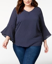 Ing Trendy Plus Size Printed Tie Back Bell Sleeve Top Ivory Dot