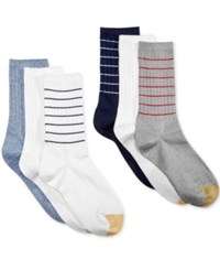 Gold Toe Women's Ribbed Crew 6 Pack Socks Chambrey