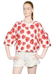 Giambattista Valli Organza And Fil Coupe Techno Sweatshirt White Red
