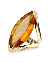 Forzieri Orange Gemstone And Diamond Yellow Gold Fashion Ring