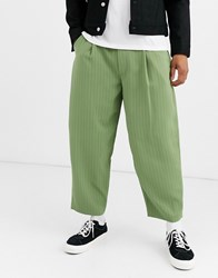 Noak Wide Leg Pinstripe Trouser In Mint Green
