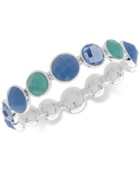 Nine West Colored Stone Stretch Bracelet Blue