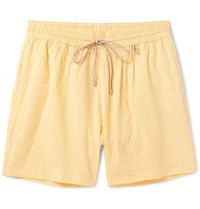 Loro Piana Mid Length Striped Cotton Blend Swim Shorts Yellow