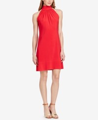 American Living Mock Neck Jersey Dress Fire Coral