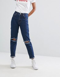 Prettylittlething Ripped Mom Jean Dark Wash Blue
