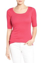 Petite Women's Caslon Ballet Neck Cotton And Modal Knit Elbow Sleeve Tee Red Chateaux