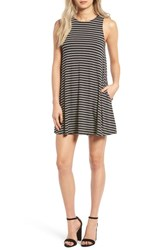 Socialite Women's High Neck Dress Blk Ivo Stripe