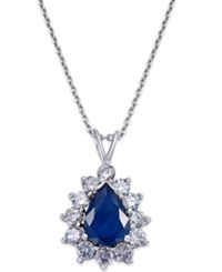 Macy's Sapphire 1 4 5 Ct. T.W. And Diamond 9 10 Ct. T.W. Pendant Necklace In 14K White Gold