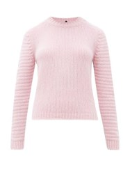 Sara Lanzi Ribbed Sleeve Crew Neck Wool Blend Sweater Pink